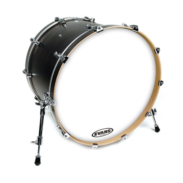 Evans EQ3 24 inch Resonant Coated Bass Drum Head with No Port - Wh - BD24RGCW-NP